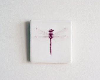 Dragonfly Porcelain Wall Tile - Dragonfly Tile - Dragonfly Home Decor - Handmade Dragonfly Hanging Tile - Mothers Day Gift