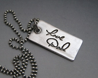Memorial Jewelry Your Actual Loved One Hand Writing Made into a Fine Silver Pendant Necklace