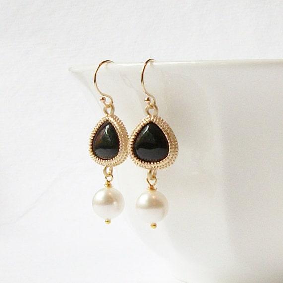 Mystic Black Onyx Gold Crystal Pearl Drop Earrings,