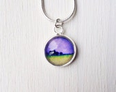 Mini Purple Necklace/Pendant with glass cabochon