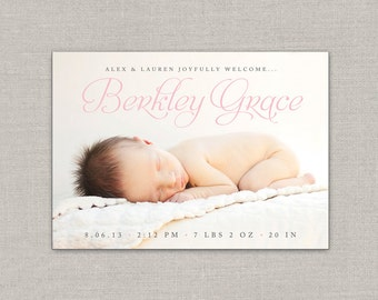 Baby Girl Birth Announcement - Berkley