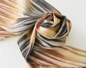 Hand Painted Silk Scarf - Handpainted Scarves Black Brown Cheetah Leopard Gray Grey Charcoal Pewter Tan Cream Ecru Neutral Beige