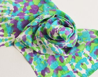 Hand Painted Silk Scarf - Handpainted Scarves Peacock Purple Violet Turquoise Blue Teal Lime Green Chartreuse White Tie Dye