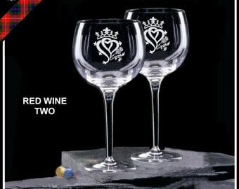 Engraved Luckenbooth Hearts & Thistle Red Wine Glasses Scottish Wedding - Two