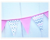 Baby Shower Banner, Chevron Bunting, Pink Gray Polka Dots, Pink and Gray Chevron Fabric Banner, Home Decor, Nursery Decor, Flags, Bunting
