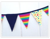 Circus Banner, Carnival Banner, Circus Bunting, Rainbow, Navy Blue, Yellow, Fabric Banner, Birthday Decor, Pennant Flags, Fabric Bunting