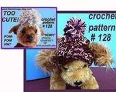 Crochet Pattern Doggie Pom Pom Hat, num 128 .. custom fit,, Permission to sell your finished items