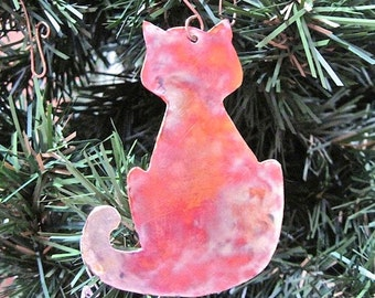 Cat Christmas Ornament. Copper Kitty Cat Decoration. Rustic Holiday Decor. Xmas Tree Ornament. Hammered Metal Ornament. Animal Lovers Gifts