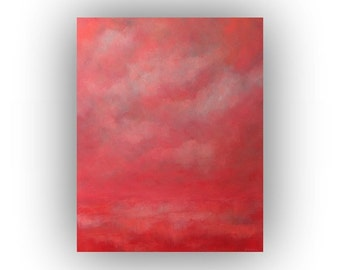 Oil Painting- Pink and White Abstract Landscape on Canvas- 24 x 30 Original Clouds and Sky Palette Knife Painting
