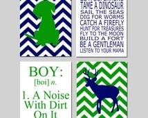 Baby Boy Nursery Art - Chevron Puppy Dog, Be a Superhero Quote, Boy Definition, Chevron Deer - Set of Four 8x10 Prints - CHOOSE YOUR COLORS