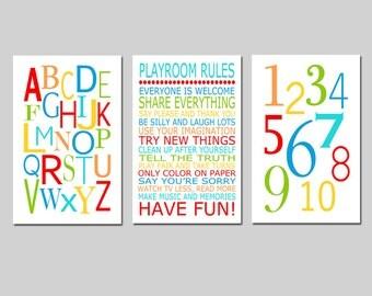 Playroom Rules Alphabet Numbers Set - Kids Wall Art Trio - Set of Three 11x17 Nursery Art Prints - CHOOSE YOUR COLORS