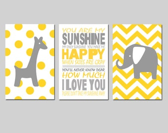 Elephant Giraffe Nursery Art You Are My Sunshine Trio - Set of Three 13x19 Prints - Polka Dot and Chevron - CHOOSE YOUR COLORS - Yellow Gray