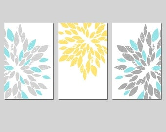 Modern Abstract Painterly Floral - Set of Three 11x17 Art Prints - CHOOSE YOUR COLORS - Shown in Pale Yellow, Gray, Soft Aqua and More
