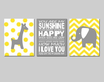 Yellow Gray Nursery Art Trio - You Are My Sunshine, Chevron Elephant, Polka Dot Giraffe - Set of Three 8x10 Prints - Choose Your Colors