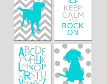 Nursery Art Chevron Labrador Dog, Keep Calm Rock On, Modern Alphabet, Polka Dot Puppy - CHOOSE YOUR COLORS - Set of Four 11x14 Prints