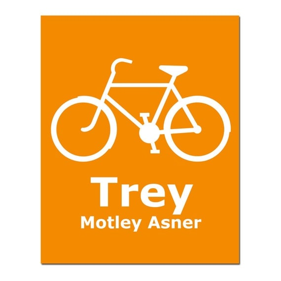 Personalized Bicycle Silhouette - 8x10 Print - Customized With Your Child's Name - Nursery Kids Wall Art - CHOOSE YOUR COLORS