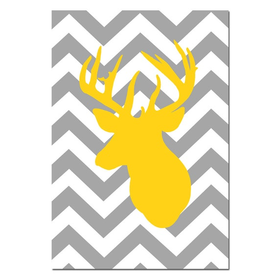 Chevron Deer - Large 13x19 Print - Chevron Design Pattern with Deer Head Silhouette - Choose Your Colors - Shown in Gray, Yellow, and More