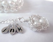 Personalized Initial Bird Nest Necklace with Three White Pearls in Sterling Silver Monogrammed Stamped Leaf Charms