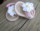 Crochet Baby Shoes  Handmade  Infant  Kids- Pink with White Flower