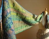 Handwoven scarf, green shades of merino wool and brown alpaca , natural colors