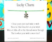 Lucky Charm - Wish Bracelet With Lucky Little Clover Charm - Shown In The Color SHAMROCK  - Over 100 Different Colors Are Also Available