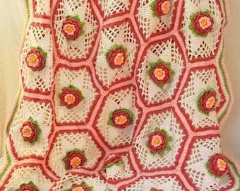 Rose Garden Afghan Crochet Pattern PDF