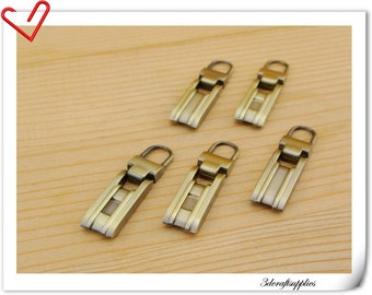 39mm x 10mm anti brass metal zipper pull charm  6pcs P106