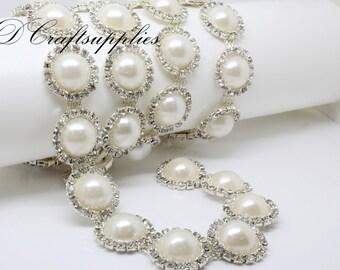Wedding rhinestone and pearl trim Crystal rhinestone chain trim pearl trim decoration 1 yard ( 90cm )  AT55