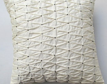 cream pleated pillow with black beads 16 inch textured  pillow in linen. Custom made