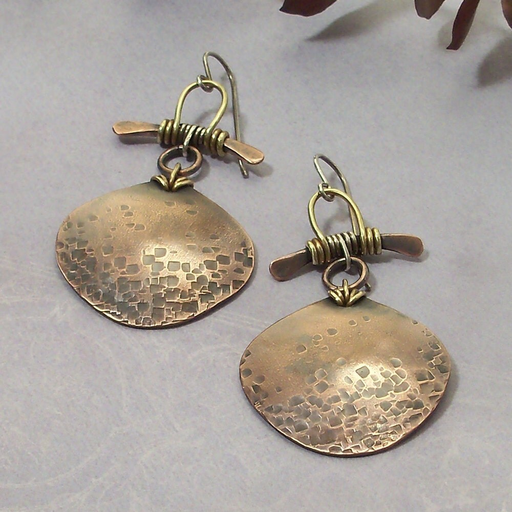 Mixed Metal Wire Wrapped Earrings Handmade Earrings Hammered