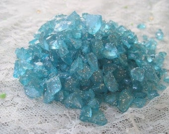 Turquoise Blue Crushed Glass Turquooise Glitter Tumbled Glitter Glass Pieces Mosaic Supplies Blue Glitter Glass Loose Glass 5 oz bag