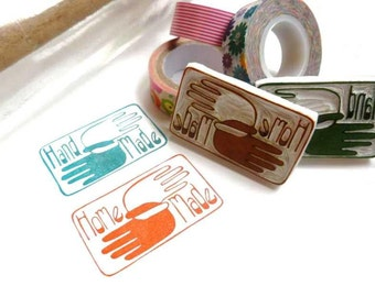Brand NEW 'Home Made' Or 'Hand Made'  Stamp, You Pick, Scandinavian Mod Rubber Stamp Logo, Unique Way to Say I Made It, Label Rubber Stamp