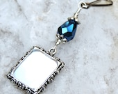 Something blue. Wedding bouquet memorial charm. Bridal bouquet photo charms with Blue teardrop crystal. Wedding keepsake, photo jewelry.