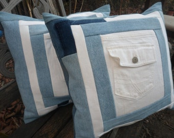 "Blue Jean Pillow Covers Denim Pillow Cover Set Blue and White Jean Pocket Pillow Covers Upcycled Jeans  17""x 17"" Patchwork Cushion Covers"