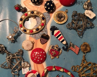 Repurpose single earring harvest craft vintage red white blue patriotic jewelry rhinestone necklace brooch LOT mixed media des