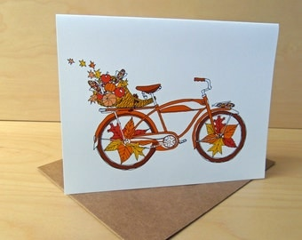 Autumn Bike Card - Cornucopia Bike - Thanksgiving Card - set of 8