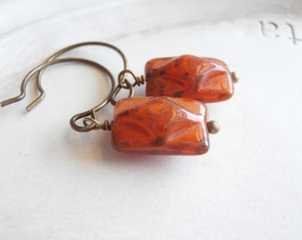 Flower Earrings - Harvest Bloom - Rusty Orange Flower and Copper