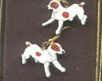 Handpainted Lightweight Wood JACK RUSSELL TERRIER Brown Jumping Dangle Dog Earrings