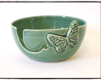 Yarn Bowl with Butterfly in Just Green by misunrie-Second Sale