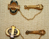 Pair of Vintage Goldtone BETA SIGMA PHI Sorority Lapel Pins with Torches