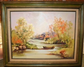 SIGNED 18 x 24 Plein Air River Autumn IMPRESSIONIST Landscape Oil Painting