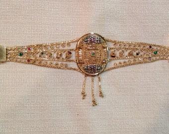 Nice 22K Yellow Gold Filigree Handcrafted ARABIAN Bracelet w/ Green & Red Stones