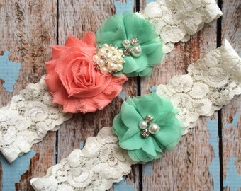 Coral flower / Mint puff/ wedding garter set / bridal  garter/  lace garter / toss garter included /  wedding garter
