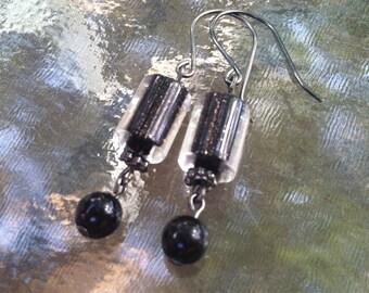 Black Ice Dangle Earrings