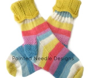 Socks - Hand Knit Women's Pastel Striped Socks with Yellow Cuff - Size 5-6.5