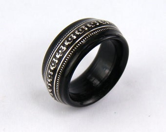 Bentwood Mens Ring Ebony with Floral Patterned Sterling Silver inlay