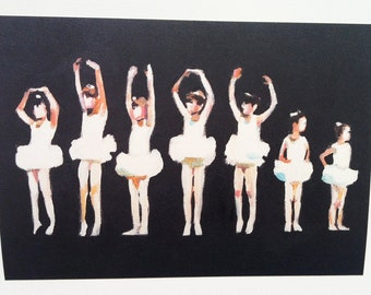 Small Ballet Dancers 2 - 1 art print on paper-Figures painting -  children prints - girls art-  Digital Prints & Reproductions