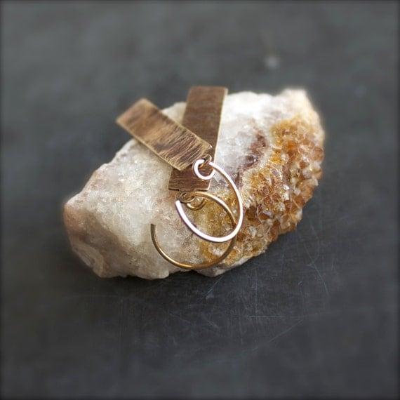 Brown Brass Dangle Drop Earrings Textured Lined Patina Rectangle Geometric Handmade Metalwork Boho Jewellery