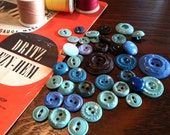 SHADES OF AQUA blue and brown vintage plastic buttons
