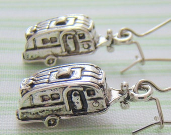 Camper Earrings, Tibetan Silver Earrings, Vintage Airstream Camper Earrings